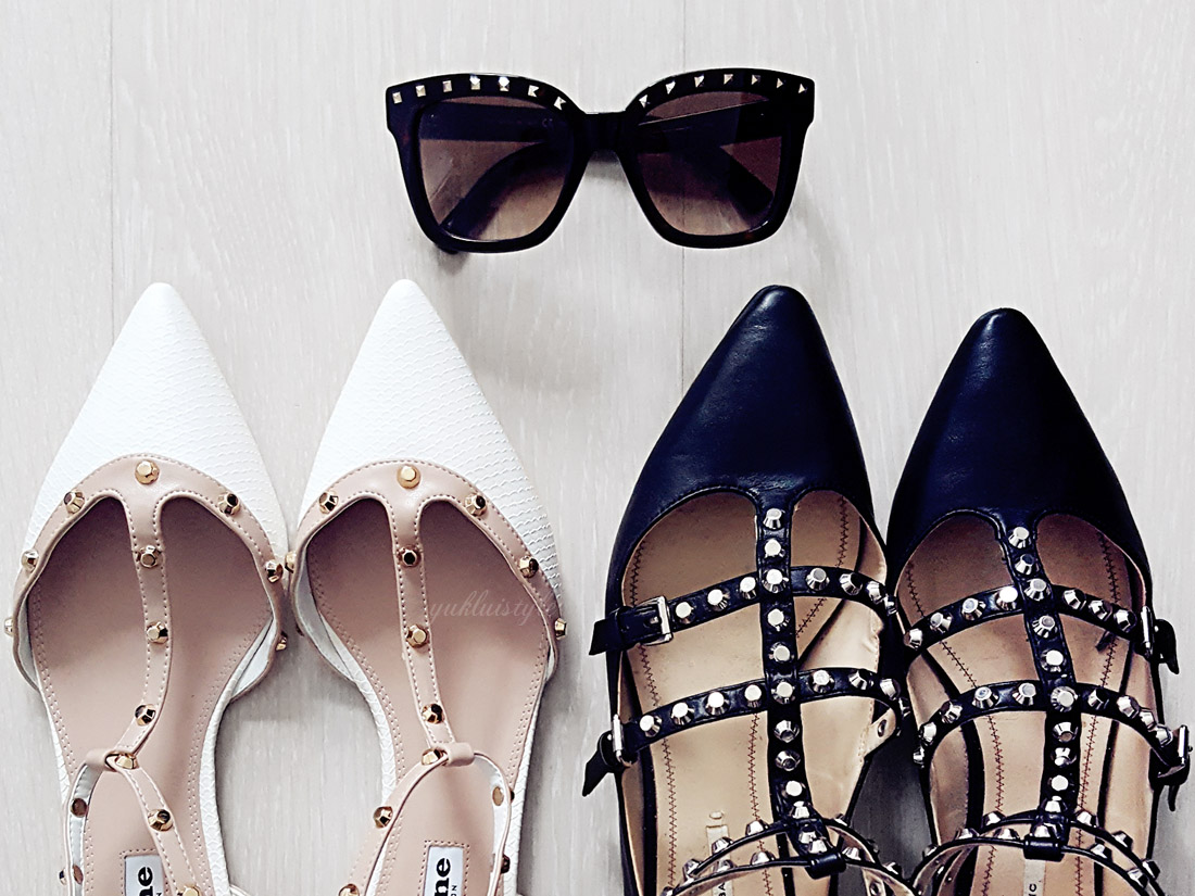 fashion Studded Details on shoes and valentino sunglasses