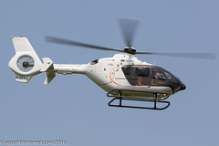 G-SENS - 2009 build Eurocopter EC135 T2+, departing down Runway 08 after a brief visit to Barton