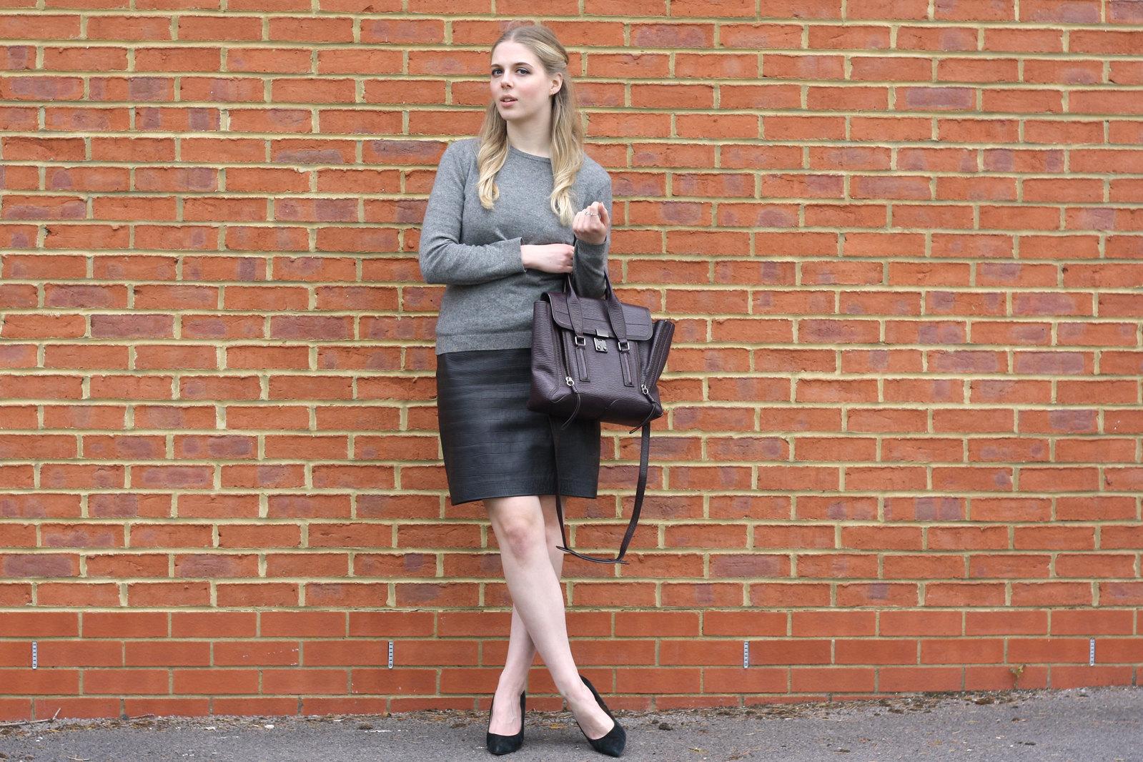 Topshop Boutique black leather skirt