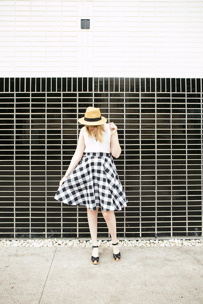 a pair of Swedish Hasbeens are perfect with this ModCloth gingham skirt