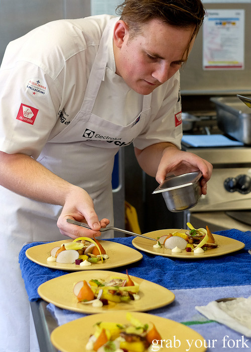 Jordan Monkhouse from Aria Brisbane at the Appetite for Excellence Young Chef of the Year 2016 final cook off