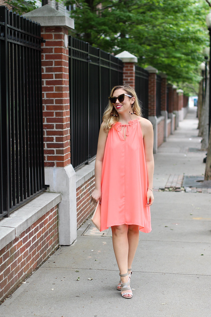 Neon Coral The Mint Julep Trapeze Dress | How To Wear Neon | Shop The Mint Summer Outfit | Living After Midnite by Jackie Giardina Style Blogger
