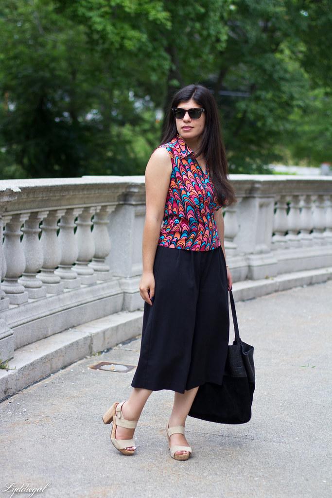 scallop print wrap blouse, black culottes, nude platform sandals-1.jpg