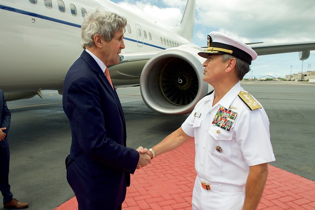U.S. Navy Admiral Harris Greets Secretary Kerry Upon His Arrival at Joint Base Pearl Harbor-Hickam in Hawaii