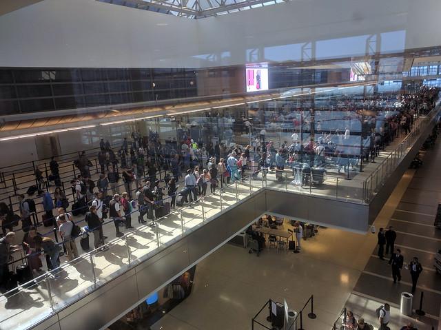 TSA queue at LAX international terminal, Santa Monica, Los Angeles, California, USA