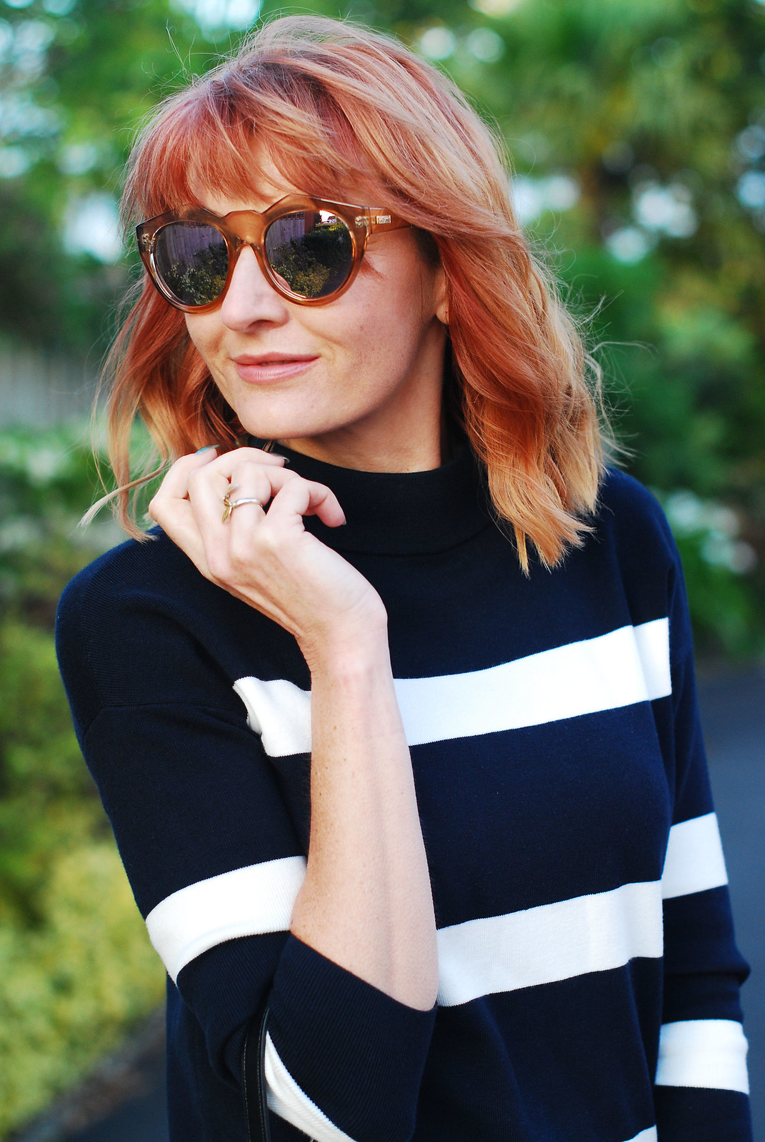 Navy/white striped sweater, round mirrored sunglasses - Hobbs SS16 | Not Dressed As Lamb