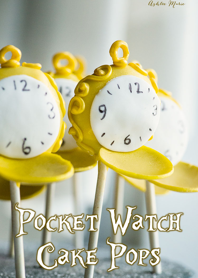 it's easy to make these pocket watch cake pops - and perfect for an Alice in Wonderland through the looking glass party!