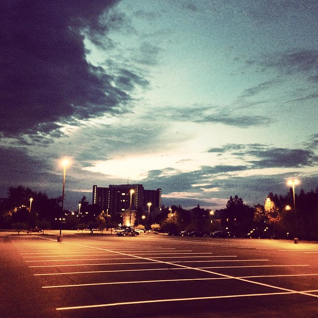 Morning sky and newly paved parking lot #indianaskies #skies #morning #iu #indianauniversity #iubloomington #parkinglot