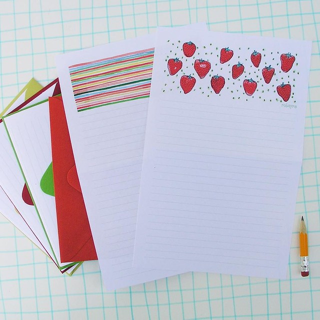 Aaaaand, I finally listed this strawberry stationery as well day 66/100 #robayre100days #the100dayproject