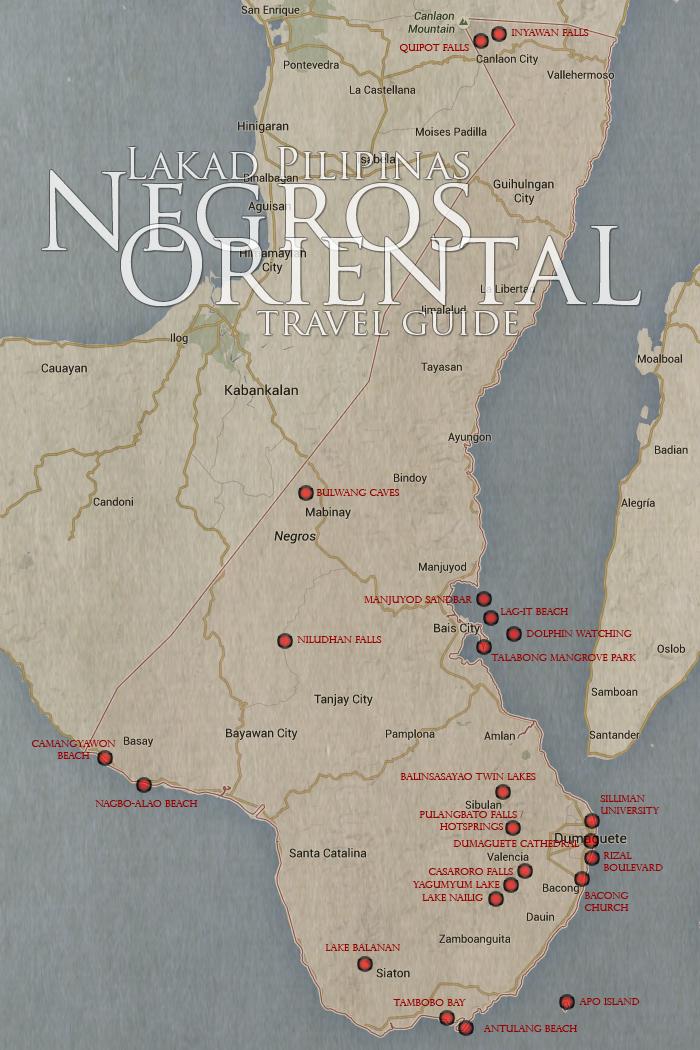 Dumaguete & Negros Oriental Tourist Spot Map