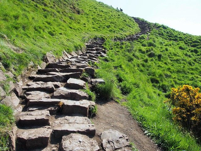 Trail to Arthur's Seat at Holyrood Park, Edinburgh, Scotland.