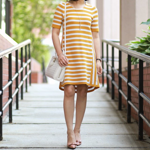 Ann Taylor Striped Short Sleeve Sweater Dress