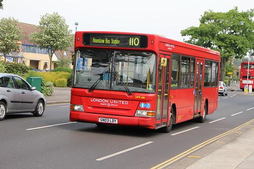 London United DPS681 on Route 110, Ivybridge Retail Park