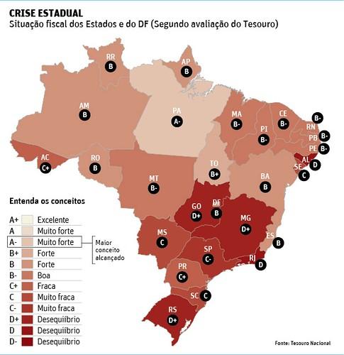 Os 5 estados brasileiros com as piores contas públicas, Infográfico da Folha