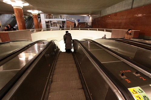 Long lead in to the longest escalators in Europe