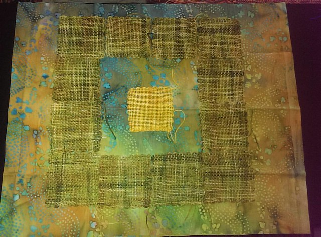 Day 14 of the #ctmonthinthelife  #igchallenge @createandthrive , the #prompt is #vignette... This is a #workinprogress  look at a future #artquilt , combining #weaving with #fabric  The #layout is a general idea of what it may end up eventually looking li