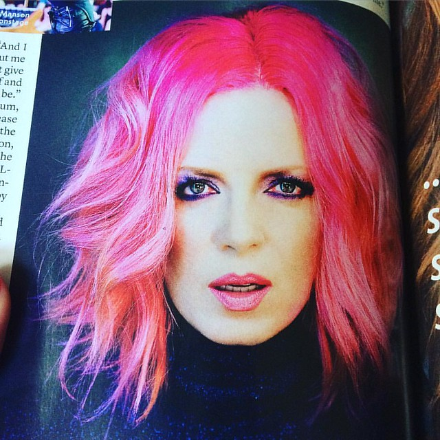 "Shirley Manson looking bloody gorgeous with pink hair in my latest ""Elle"". Can you believe she's almost 50?!"