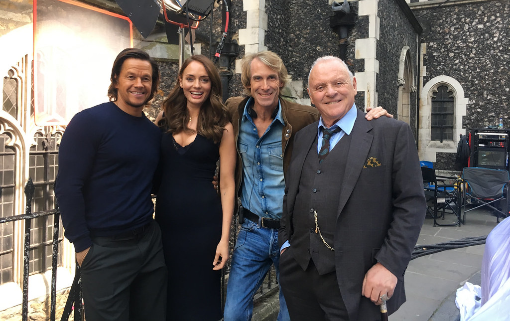 Mark Wahlberg, Laura Haddock, Michael Bay, and Sir Anthony Hopkins
