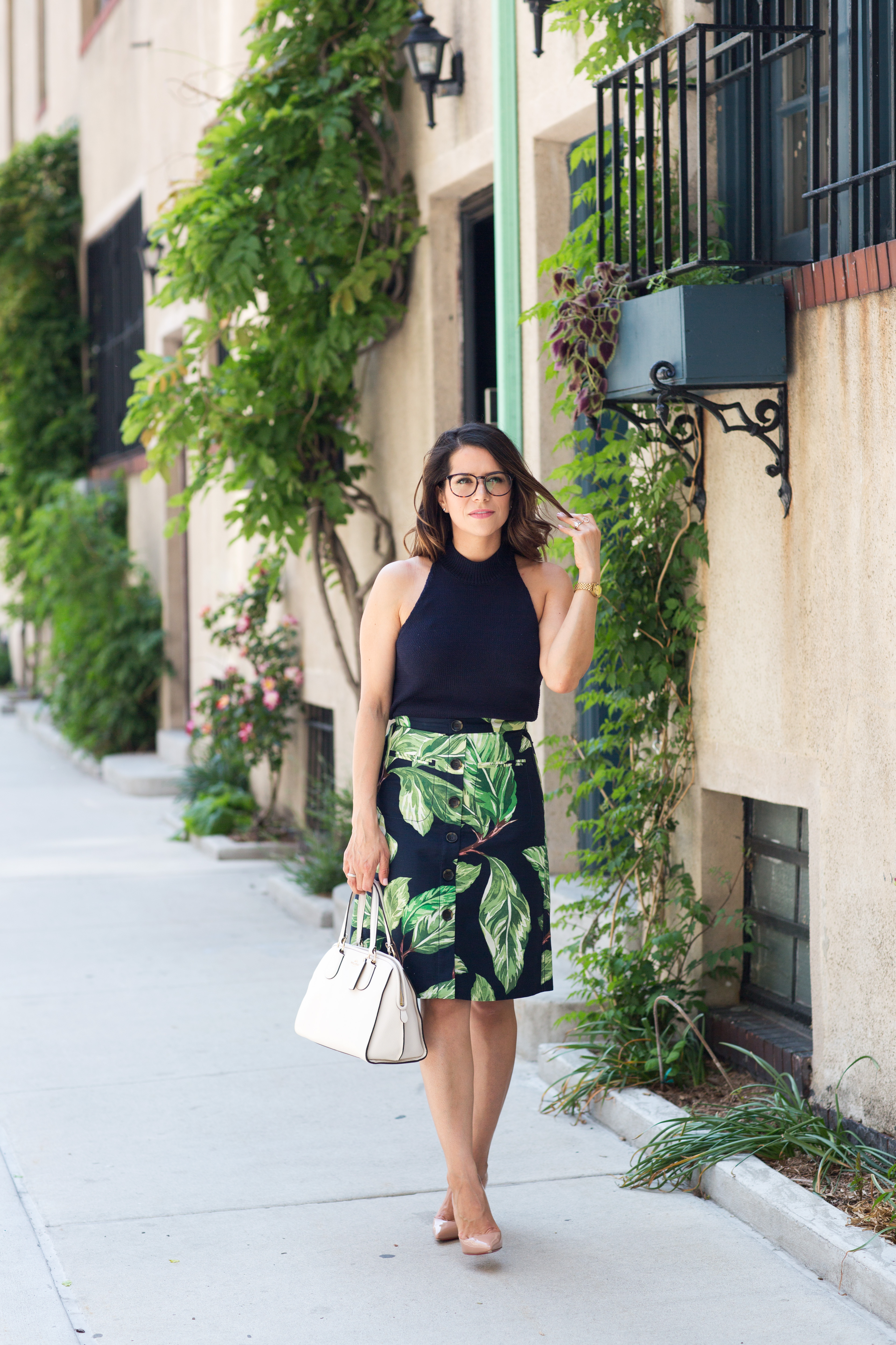 Ann Taylor palm skirt and navy sweater halter top for summer workwear outfit by Corporate Catwalk
