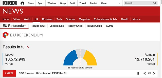 BBC forecast: UK votes to LEAVE the EU