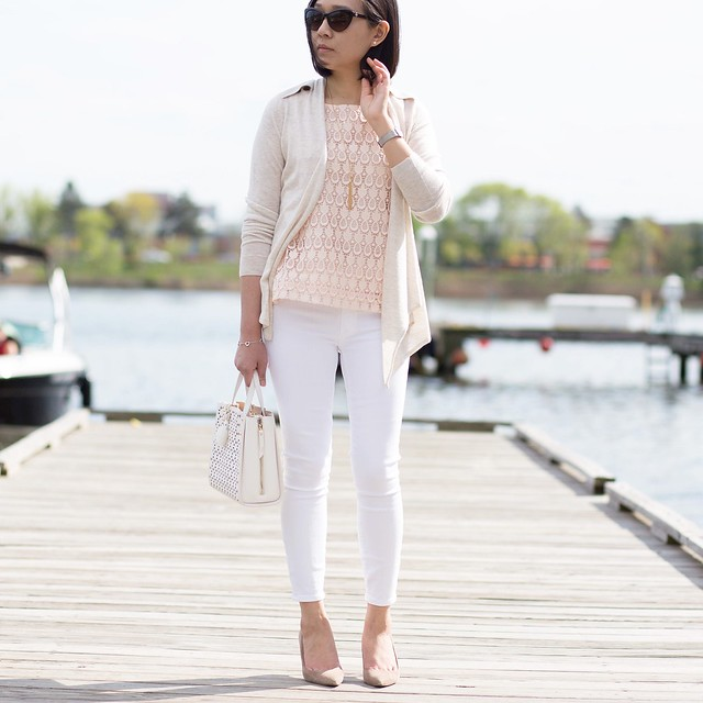 Ann Taylor Pineapple Lace Shell Outfit