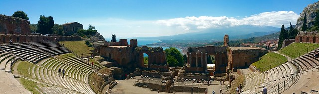 Taormina ancient ruins panorama