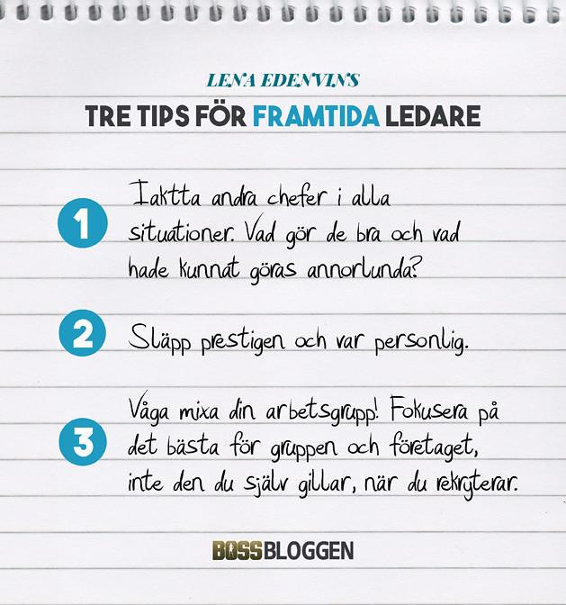 Tre Tips Lena Edenvin