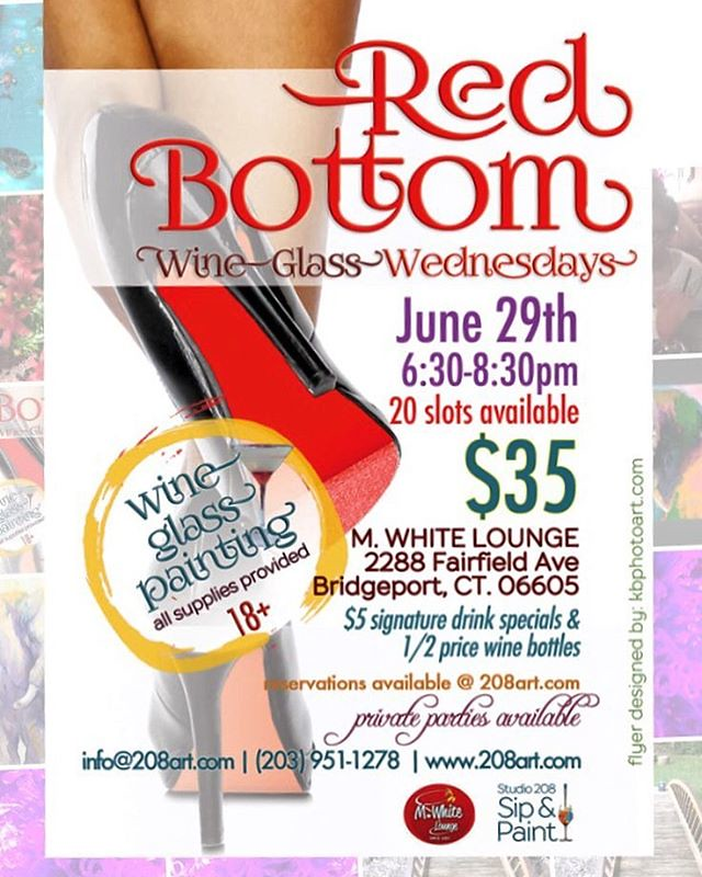 This Wednesday! Link in bio #redbottoms #wineglasspainting #humpday #datenight #girlsnight #comepaintwithus