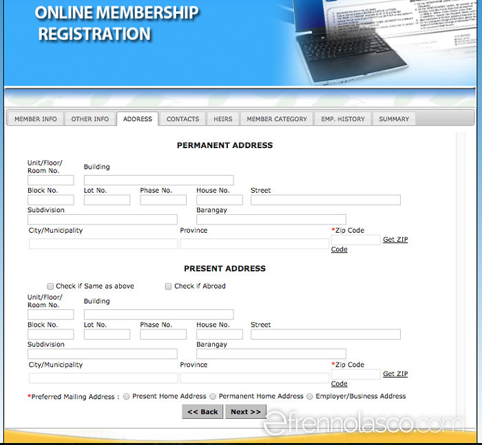 Pagibig online registration - Address