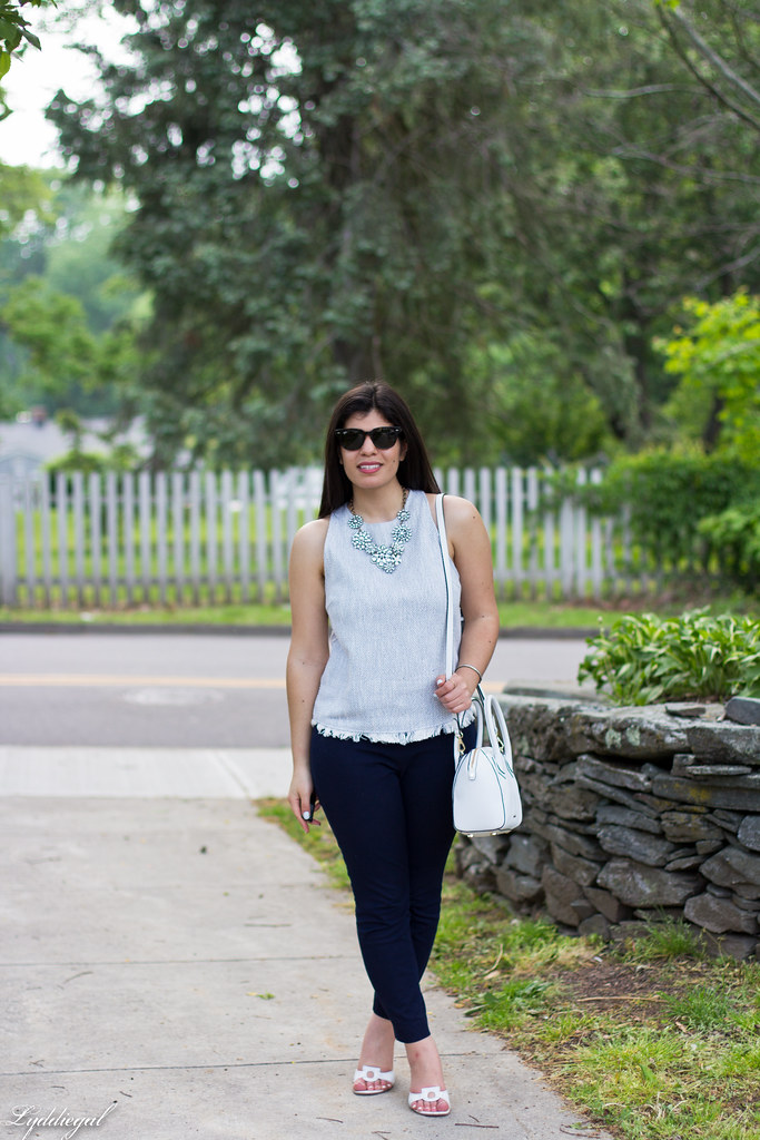 woven top, navy pants, statement necklace-4.jpg