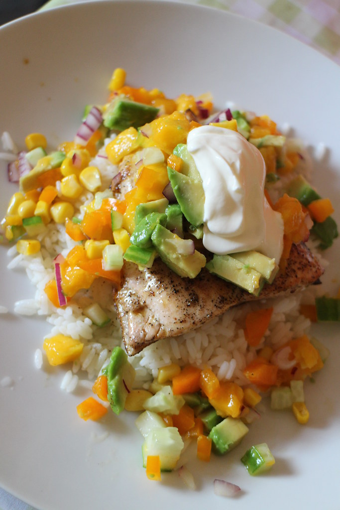 Salmon and mango salsa