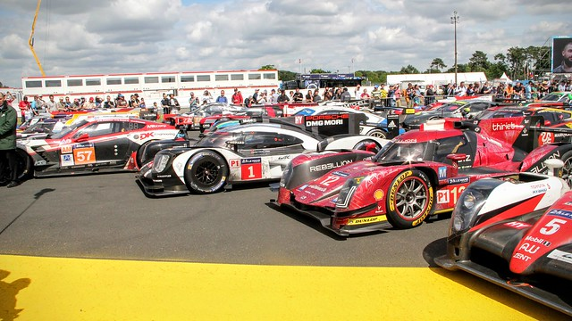Cars parked up after the 24 Hours of Le Mans