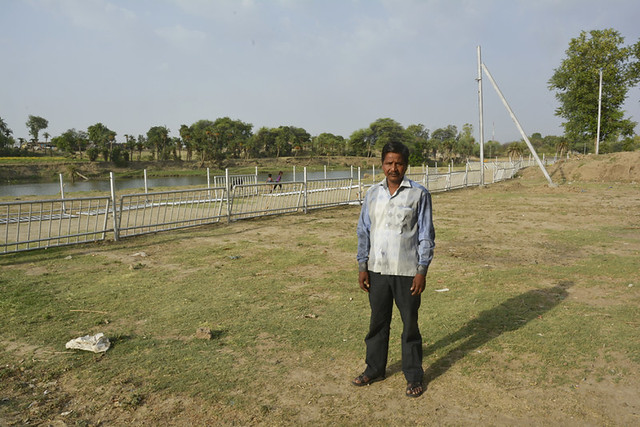 Gaughat farmer Chagan Lal Mali on his farmland. He has to bear a loss of Rs 2 lakhs this season.