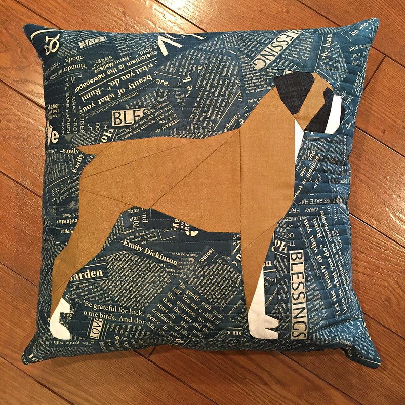 Paper pieced boxer pillow