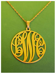 Onecklace gold monogram necklace pendant