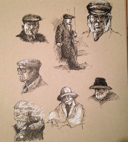 Spent the last 1:45 sketching old dudes and salts. Working up to a month of figure and portrait sketching in September.