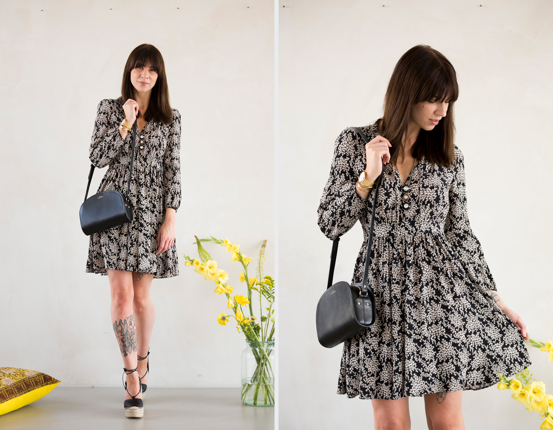 max&co maxandco summer dress floral print black white minimal romantic cute online shop dresses shopping a.p.c. halfmoon bag luxury girl bangs brunette francaise parisienne saint laurent espadrilles ootd look fashionblogger ricarda schernus cats & dogs 6
