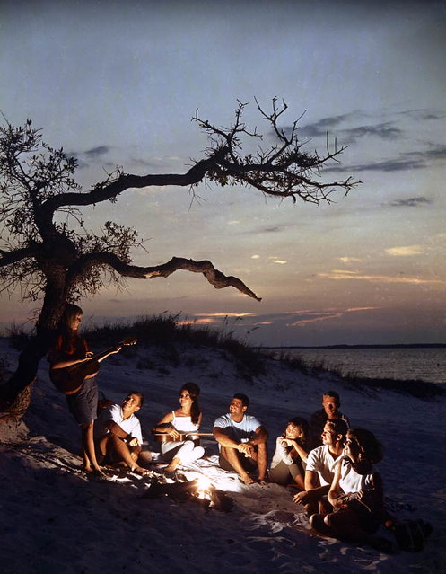 Group gathered around a fire at the beach