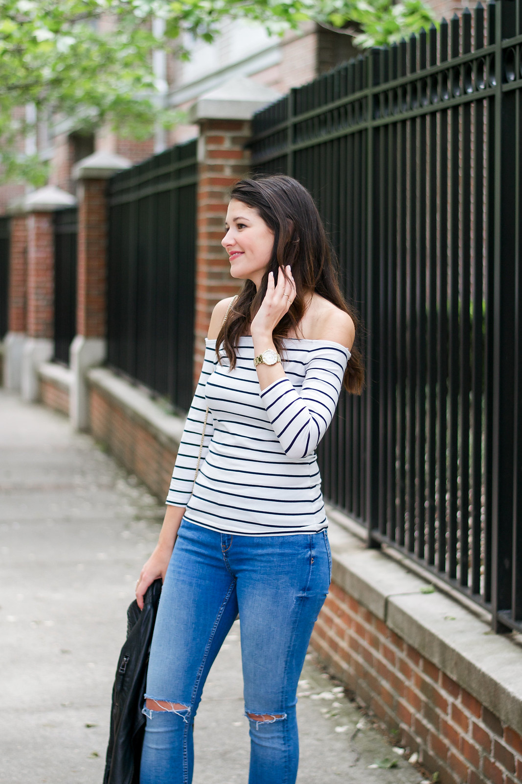 Off The Shoulder Top and Ripped Jeans Style