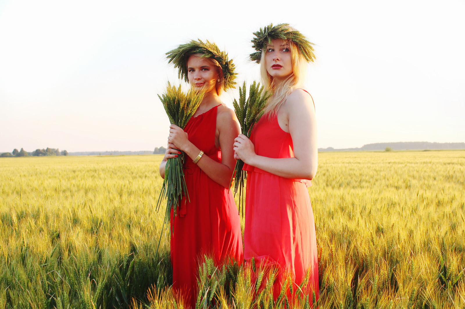Latvian girls with flower wreaths