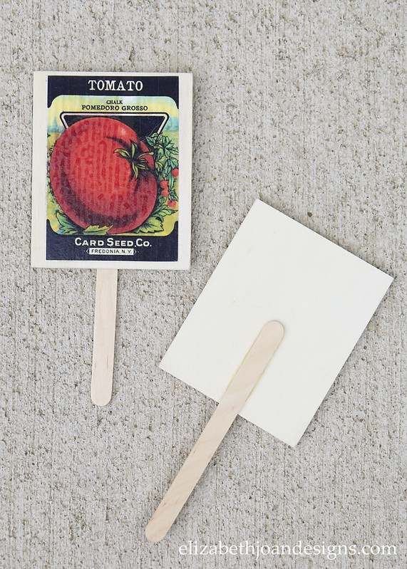Wood Glue Popsicle Sticks to Vintage Seed Packets