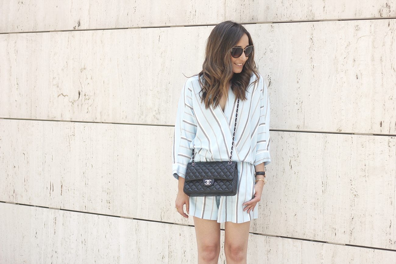 Maje Jumpsuit with stripes black heels chanel bag summer outfit street style fashion06