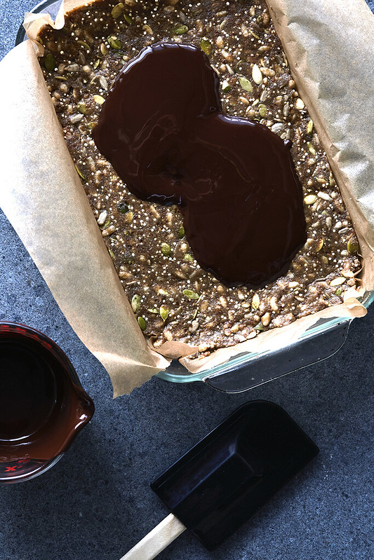 Sprouted Super Seed Bars with Puffed Rice and Dark Chocolate (Nut-free)