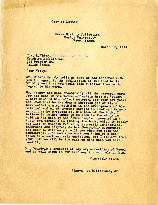 Guy B. Harrison to Joe L. Wiley (Houghton Mifflin) on behalf of Robert Grundy, 1944 March 15