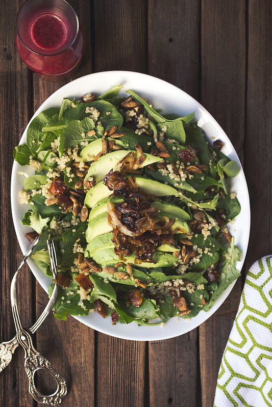 Baby Kale and Quinoa Salad with Dates, Avocado and Citrus Hibiscus Vinaigrette