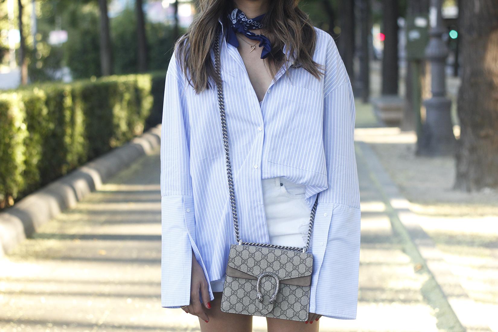 boyfriend striped shirt gucci bag so real dior sunnies denim shorts summer outfit07