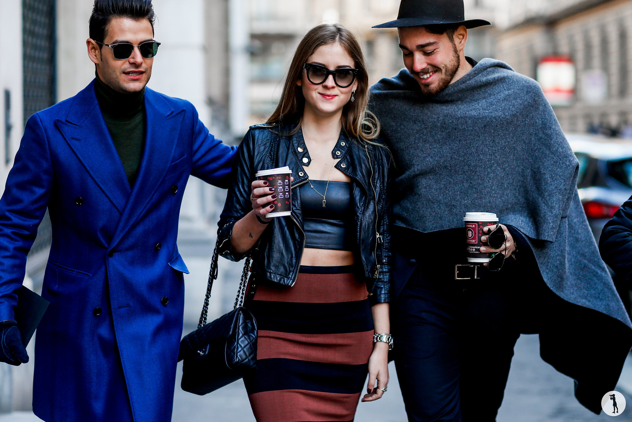 Frank Gallucci, Valentina Ferragni and Luca Vezil at Milan Fashion Week Menswear