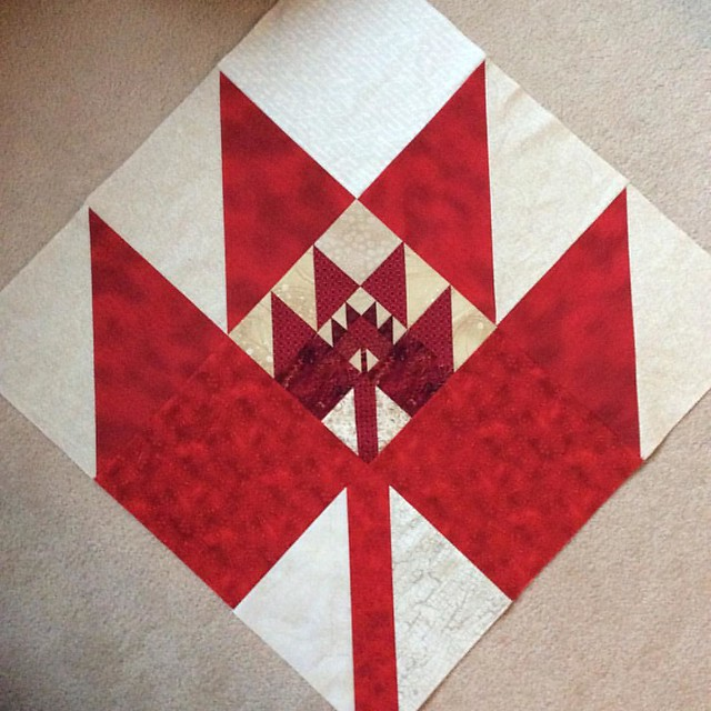 Triple Maple Leaf block #1 #quiltsforfortmac #mapleleafblocks @slostudio @lethargiclass @madaboutpatchwork