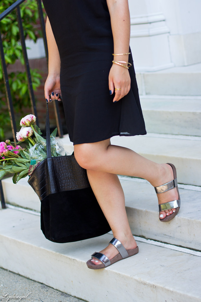 black slip dress, silver vionic sandals, black tote, peonies-9.jpg
