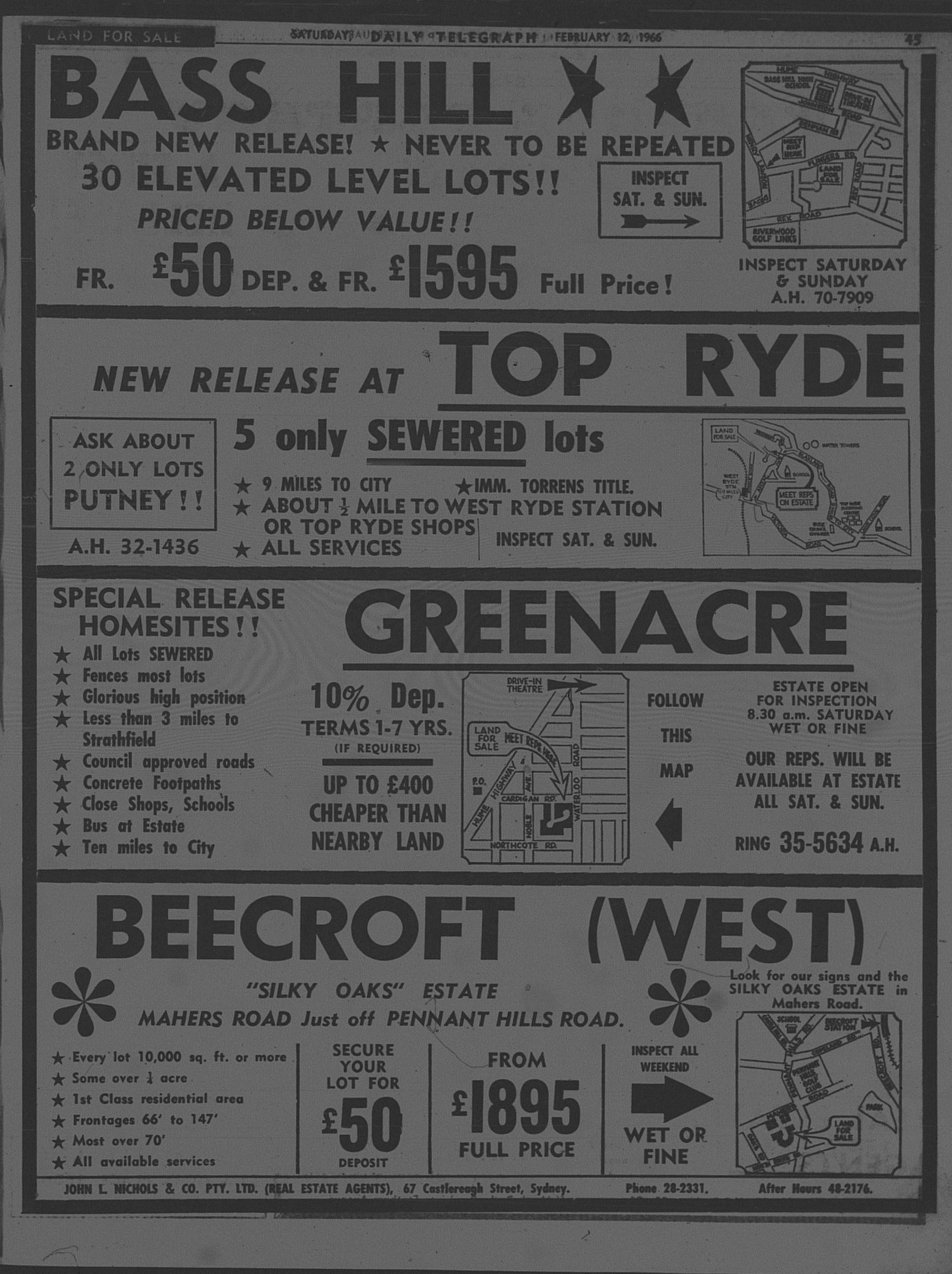 John L Nichols Ad February 12 1966 daily telegraph 45